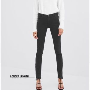 Zara High-Waisted Washed Black Skinny Jeans